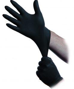 black donning gloves